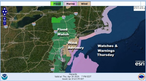Wind Advisory New Jersey Coastal Counties Flood Watch Western and Northern New Jersey Eastern Pennsylvania