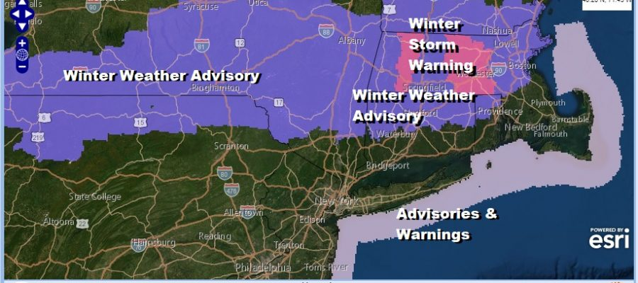 Winter Weather Advisories Northern PA to Central New England Winter Storm Warning Berkshires