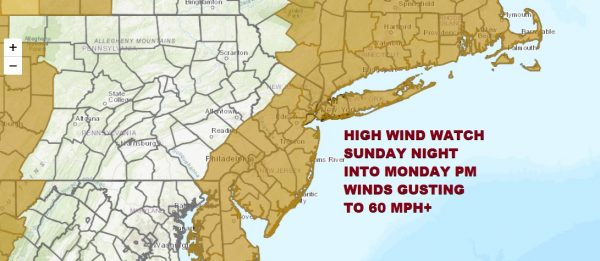 HIGH WIND WATCH SUNDAY NIGHT INTO MONDAY PM WINDS GUSTING TO 60 MPH+