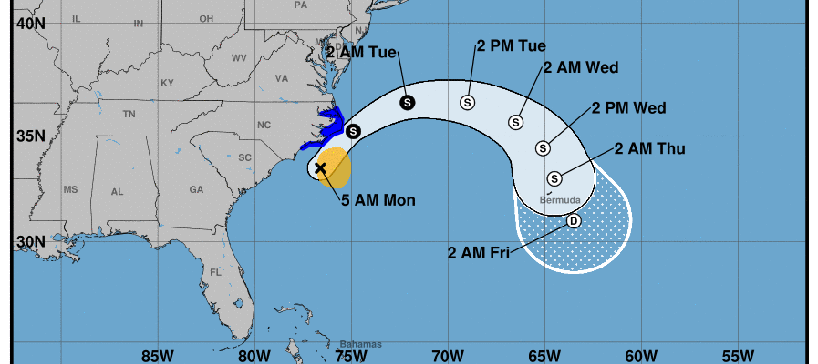 Arthur Nears North Carolina Coast Will Turn East Tonight & Tuesday