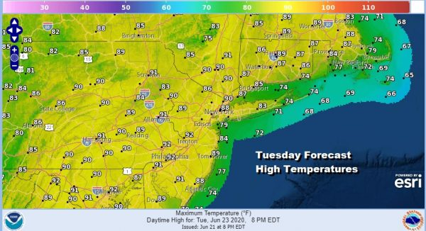Hot Humid Tuesday Thunderstorms Fire Up Inland Late Today