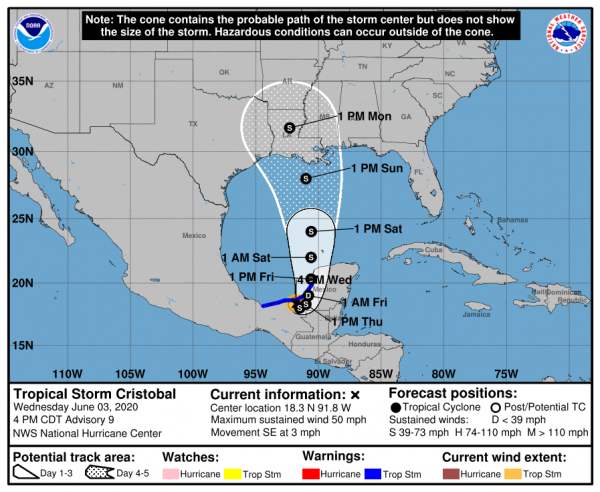 Tropical Storm Cristobal On The Coast Will Head Northward Toward Gulf Coast Late Weekend