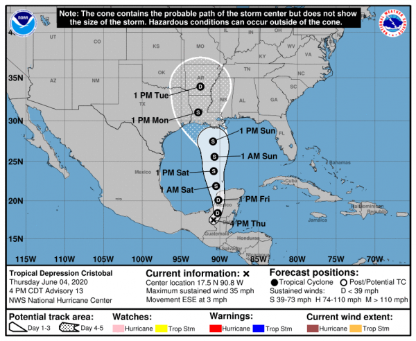 LOCATION...17.5N 90.8W ABOUT 165 MI...270 KM S OF CAMPECHE MEXICO MAXIMUM SUSTAINED WINDS...35 MPH...55 KM/H PRESENT MOVEMENT...ESE OR 110 DEGREES AT 3 MPH...6 KM/H MINIMUM CENTRAL PRESSURE...999 MB...29.50 INCHES