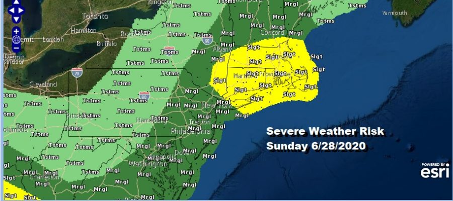 Severe Weather Risk NYC TO Boston Includes Long Island Southern Southeastern New England