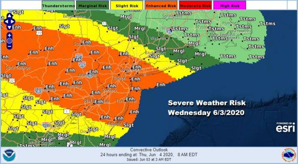 Severe Weather Risk Enhanced Strong Thunderstorms Likely This Afternoon