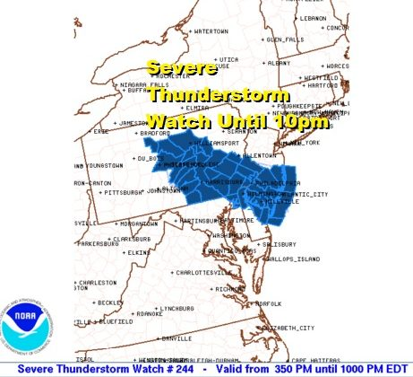 One Two Punch New Severe Thunderstorm Watch Southeast PA Southern New Jersey