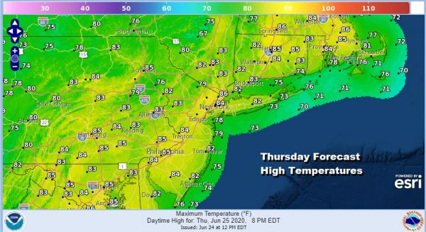 Low Humidity Sunshine Thursday But Humidity Rises Over the Weekend