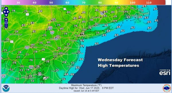 Generally Nice Weather Continues. Clouds South Push Northward Wednesday Very Warm Fathers Day