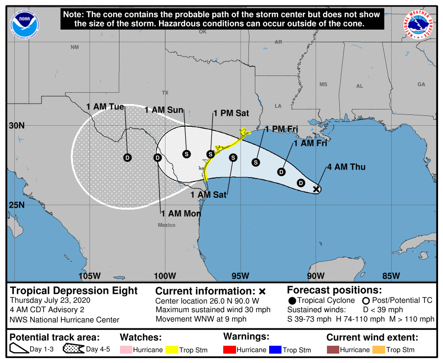LOCATION...26.0N 90.0W ABOUT 425 MI...685 KM ESE OF PORT OCONNOR TEXAS MAXIMUM SUSTAINED WINDS...30 MPH...45 KM/H PRESENT MOVEMENT...WNW OR 290 DEGREES AT 9 MPH...15 KM/H MINIMUM CENTRAL PRESSURE...1009 MB...29.80 INCHES