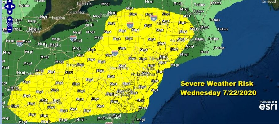Thunderstorms Well Inland Tonight Severe Weather Risk Wednesday