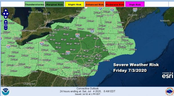 Severe Weather Risk Friday July 4th Holiday Weekend Summery