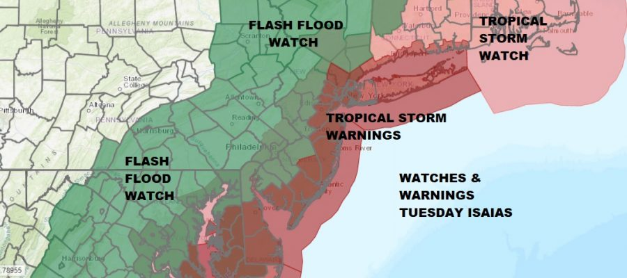 Tropical Storm Warnings Flash Flood Watch Tuesday Isaias Heads Up The Coast