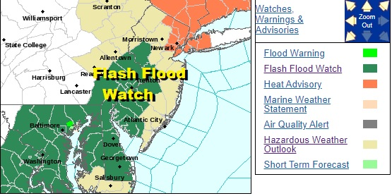 Flash Flood Watch Posted Thursday Parts of NJ Heat Humidity For One More Day