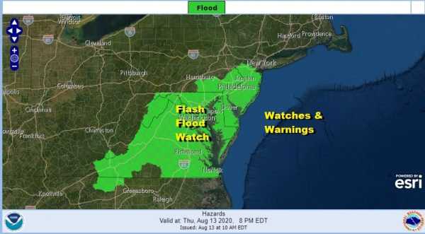 Flash Flood Watch Continues New Jersey to Virginia